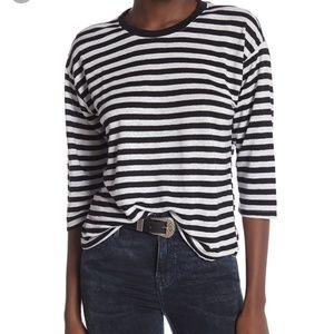 FRAME denim boxy striped top small